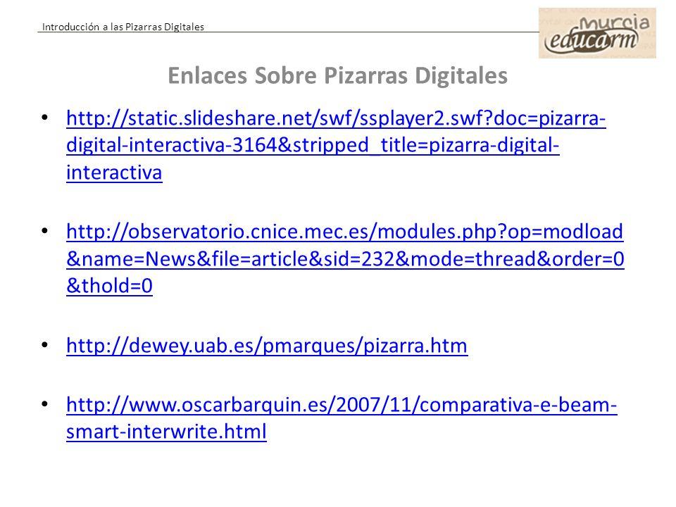 Enlaces Sobre Pizarras Digitales http://static.slideshare.net/swf/ssplayer2.swf?doc=pizarra- digital-interactiva-3164&stripped_title=pizarra-digital-