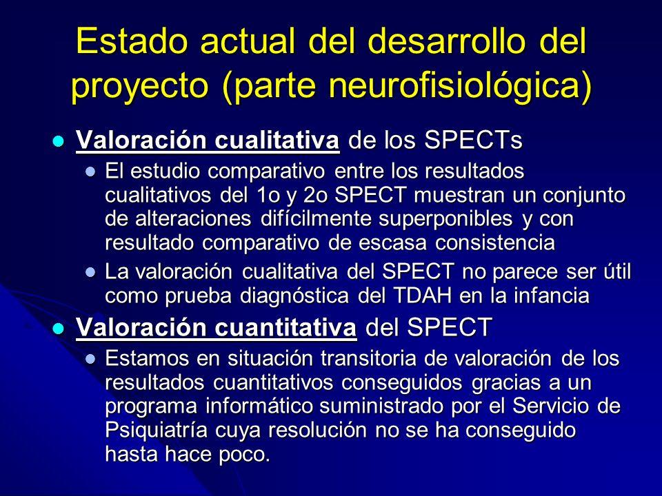 Estado actual del desarrollo del proyecto (parte neurofisiológica) Valoración cualitativa de los SPECTs Valoración cualitativa de los SPECTs El estudi