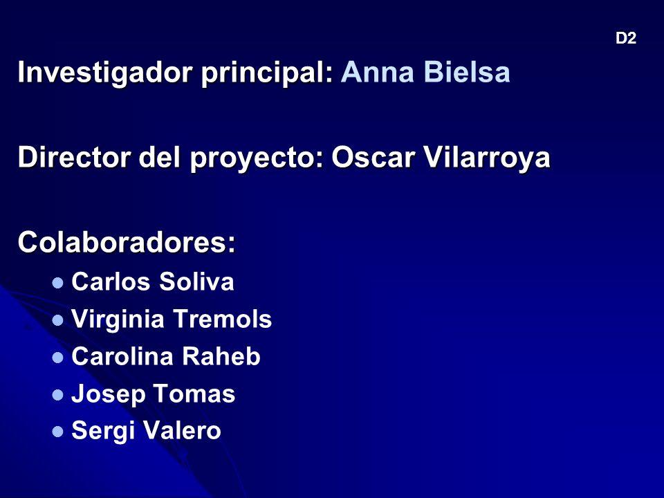 Investigador principal: Investigador principal: Anna Bielsa Director del proyecto: Oscar Vilarroya Colaboradores: Carlos Soliva Virginia Tremols Carolina Raheb Josep Tomas Sergi Valero D2