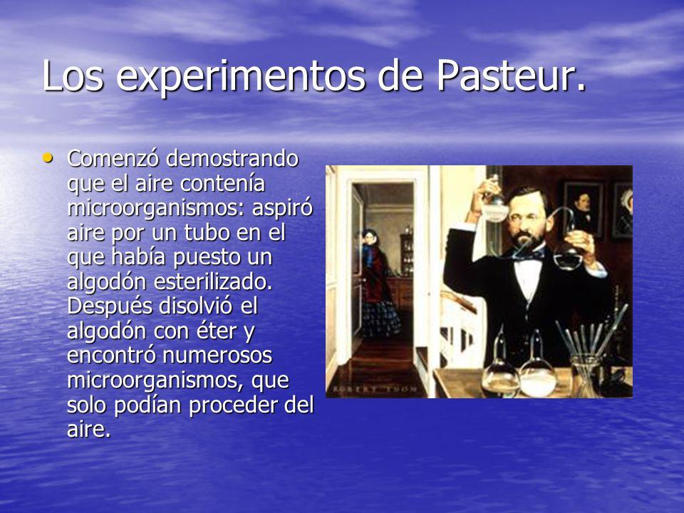 Los experimentos de Pasteur. Comenzó demostrando que el aire contenía microorganismos: aspiró aire por un tubo en el que había puesto un algodón ester