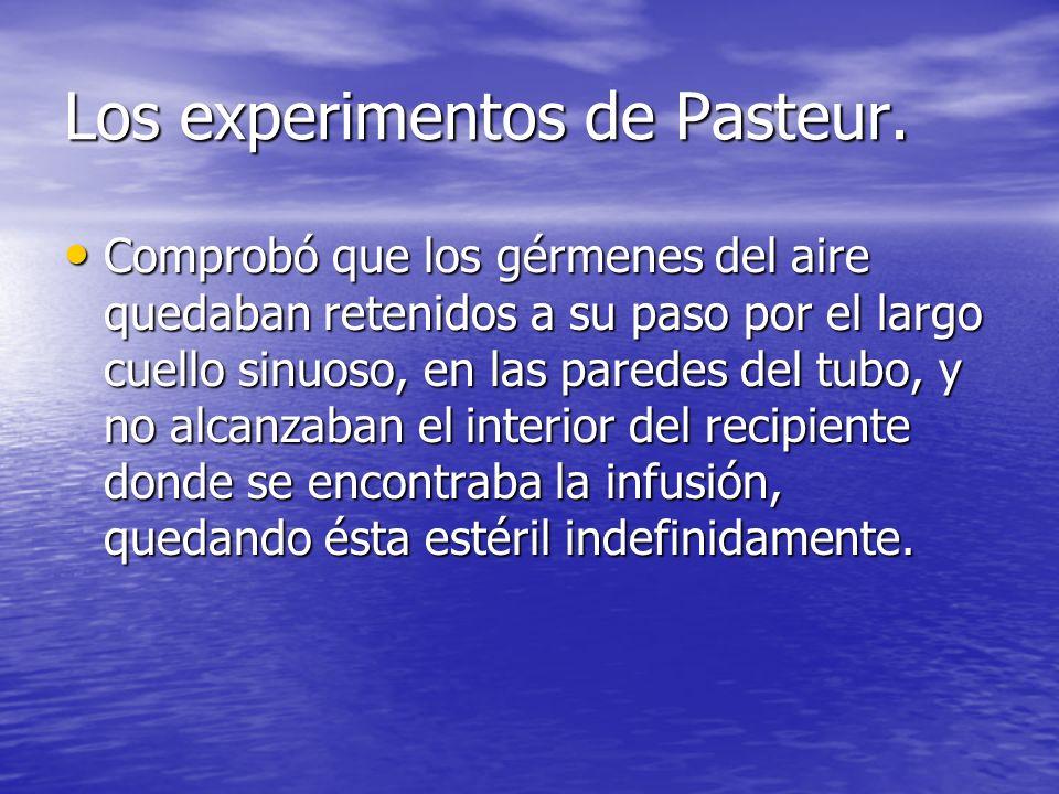 Los experimentos de Pasteur. Comprobó que los gérmenes del aire quedaban retenidos a su paso por el largo cuello sinuoso, en las paredes del tubo, y n