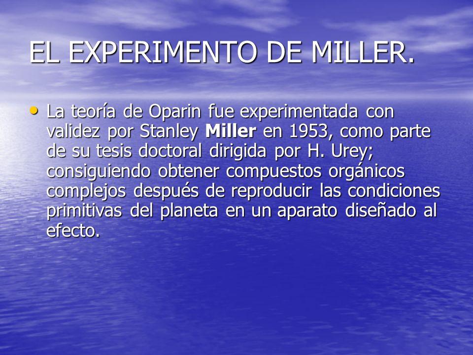 EL EXPERIMENTO DE MILLER. La teoría de Oparin fue experimentada con validez por Stanley Miller en 1953, como parte de su tesis doctoral dirigida por H