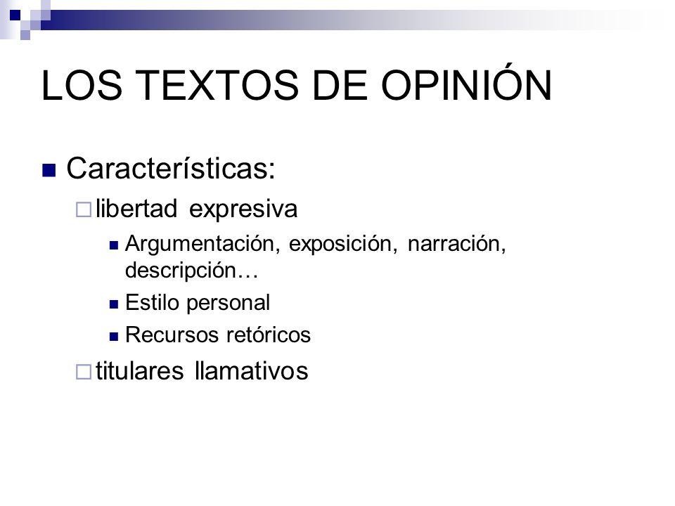 LOS TEXTOS DE OPINIÓN Características: libertad expresiva Argumentación, exposición, narración, descripción… Estilo personal Recursos retóricos titula