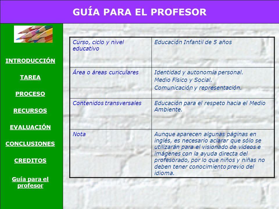 CRÉDITOS INTRODUCCIÓN TAREA PROCESO RECURSOS EVALUACIÓN CONCLUSIONES CREDITOS Guía para el profesor Para la realización de la presente webquest se han