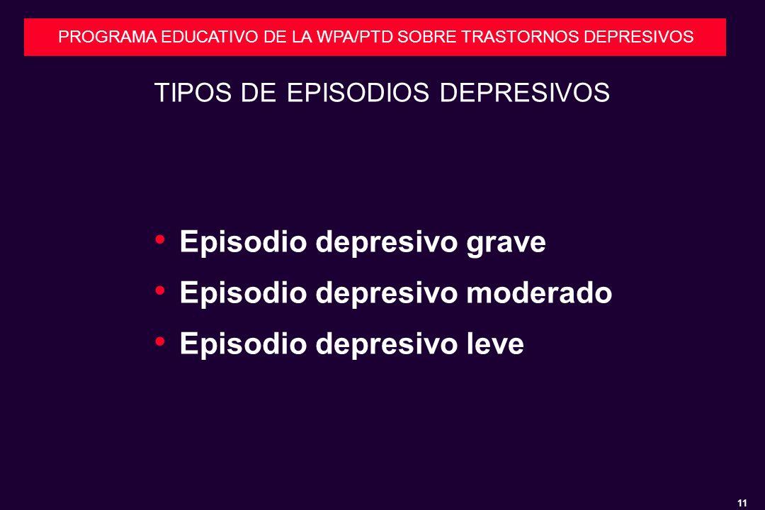 11 PROGRAMA EDUCATIVO DE LA WPA/PTD SOBRE TRASTORNOS DEPRESIVOS TIPOS DE EPISODIOS DEPRESIVOS Episodio depresivo grave Episodio depresivo moderado Episodio depresivo leve
