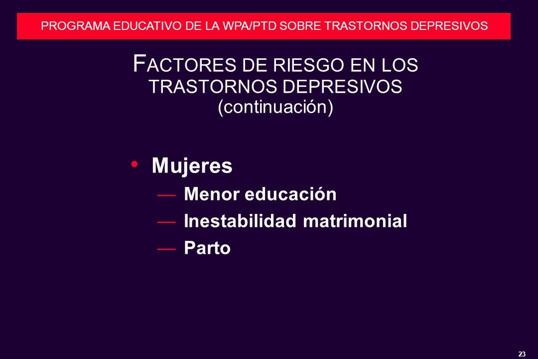 23 PROGRAMA EDUCATIVO DE LA WPA/PTD SOBRE TRASTORNOS DEPRESIVOS F ACTORES DE RIESGO EN LOS TRASTORNOS DEPRESIVOS (continuación) Mujeres Menor educación Inestabilidad matrimonial Parto