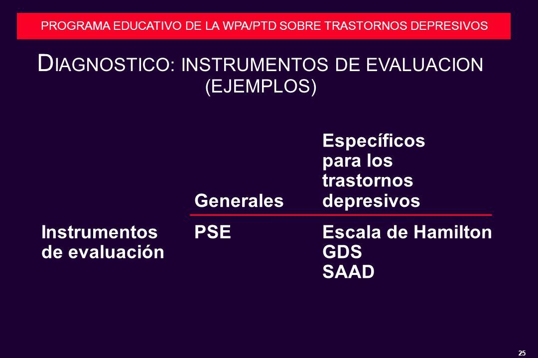 25 PROGRAMA EDUCATIVO DE LA WPA/PTD SOBRE TRASTORNOS DEPRESIVOS D IAGNOSTICO: INSTRUMENTOS DE EVALUACION (EJEMPLOS) Específicos para los trastornos Generalesdepresivos InstrumentosPSEEscala de Hamilton de evaluaciónGDS SAAD