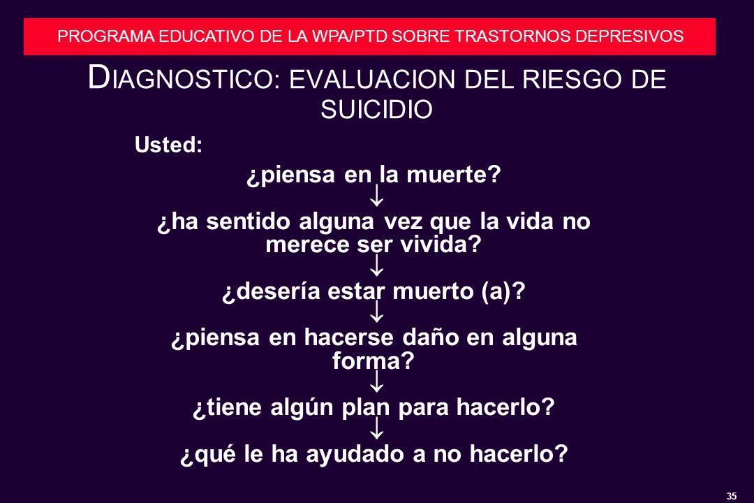 35 PROGRAMA EDUCATIVO DE LA WPA/PTD SOBRE TRASTORNOS DEPRESIVOS D IAGNOSTICO: EVALUACION DEL RIESGO DE SUICIDIO Usted: ¿piensa en la muerte.