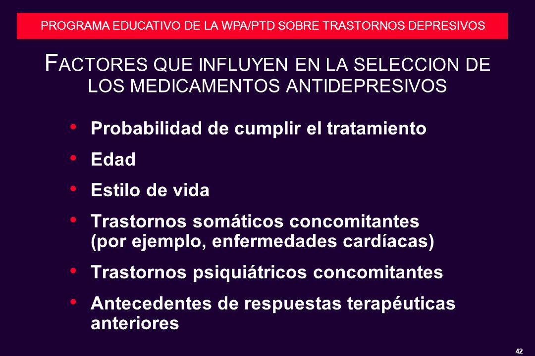 42 PROGRAMA EDUCATIVO DE LA WPA/PTD SOBRE TRASTORNOS DEPRESIVOS F ACTORES QUE INFLUYEN EN LA SELECCION DE LOS MEDICAMENTOS ANTIDEPRESIVOS Probabilidad de cumplir el tratamiento Edad Estilo de vida Trastornos somáticos concomitantes (por ejemplo, enfermedades cardíacas) Trastornos psiquiátricos concomitantes Antecedentes de respuestas terapéuticas anteriores
