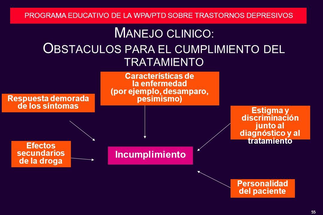 55 PROGRAMA EDUCATIVO DE LA WPA/PTD SOBRE TRASTORNOS DEPRESIVOS M ANEJO CLINICO: O BSTACULOS PARA EL CUMPLIMIENTO DEL TRATAMIENTO Respuesta demorada de los síntomas Características de la enfermedad (por ejemplo, desamparo, pesimismo) Estigma y discriminación junto al diagnóstico y al tratamiento Personalidad del paciente Efectos secundarios de la droga Incumplimiento