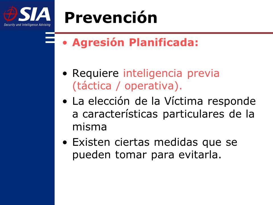 Agresión Planificada: Requiere inteligencia previa (táctica / operativa).