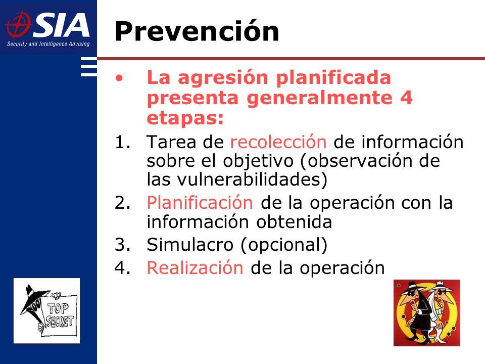 La agresión planificada presenta generalmente 4 etapas: 1.Tarea de recolección de información sobre el objetivo (observación de las vulnerabilidades) 2.Planificación de la operación con la información obtenida 3.Simulacro (opcional) 4.Realización de la operación Prevención