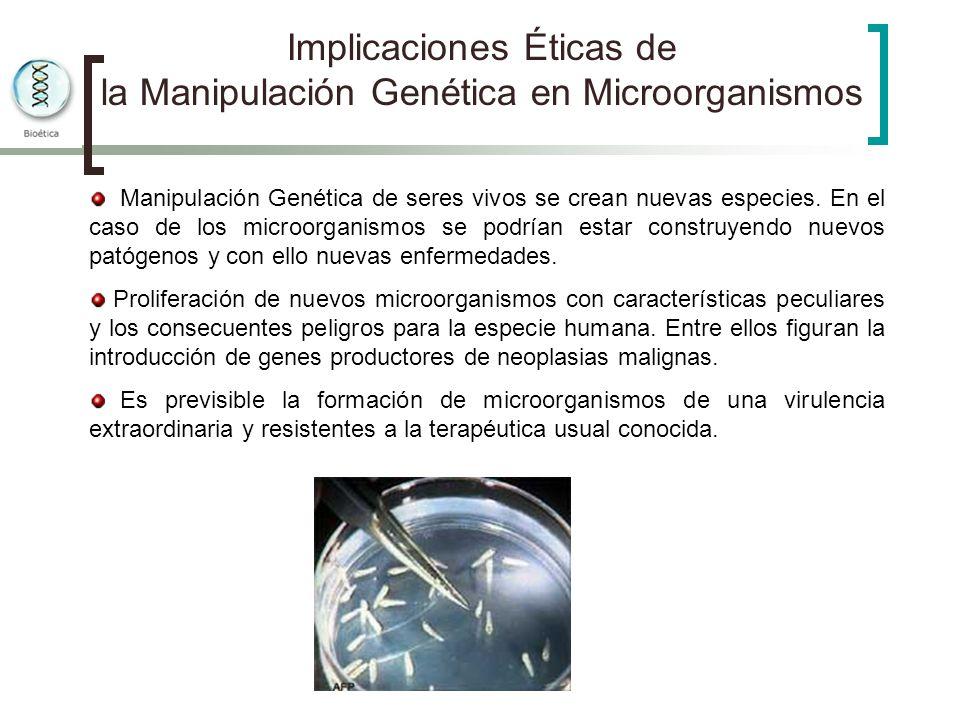 Implicaciones Éticas de la Manipulación Genética en Microorganismos Manipulación Genética de seres vivos se crean nuevas especies. En el caso de los m