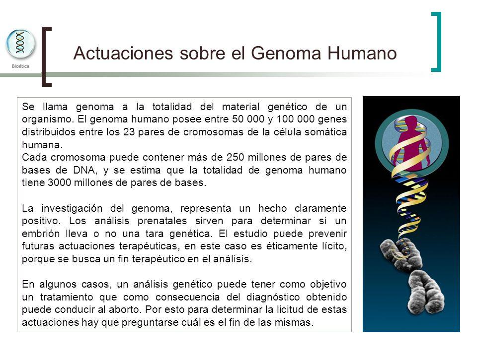 Actuaciones sobre el Genoma Humano Se llama genoma a la totalidad del material genético de un organismo. El genoma humano posee entre 50 000 y 100 000