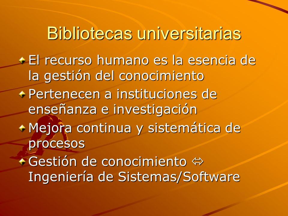 Bibliotecas universitarias El recurso humano es la esencia de la gestión del conocimiento Pertenecen a instituciones de enseñanza e investigación Mejora continua y sistemática de procesos Gestión de conocimiento Ingeniería de Sistemas/Software