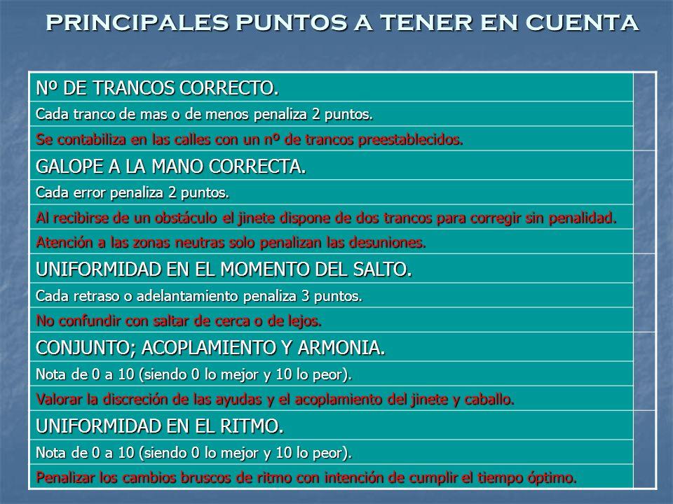 principales puntos a tener en cuenta Nº DE TRANCOS CORRECTO.