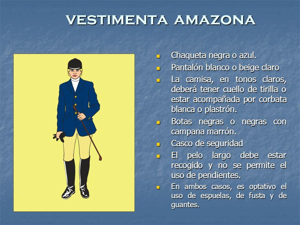 vestimenta amazona Chaqueta negra o azul.Chaqueta negra o azul.