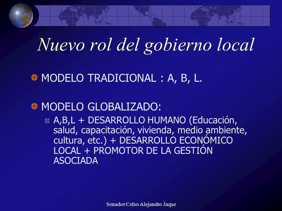 Senador Celso Alejandro Jaque Nuevo rol del gobierno local MODELO TRADICIONAL : A, B, L. MODELO GLOBALIZADO: A,B,L + DESARROLLO HUMANO (Educación, sal