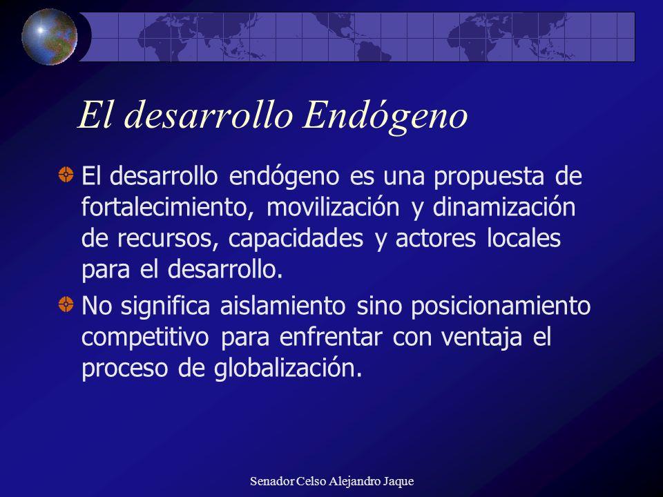Senador Celso Alejandro Jaque El desarrollo Endógeno El desarrollo endógeno es una propuesta de fortalecimiento, movilización y dinamización de recurs