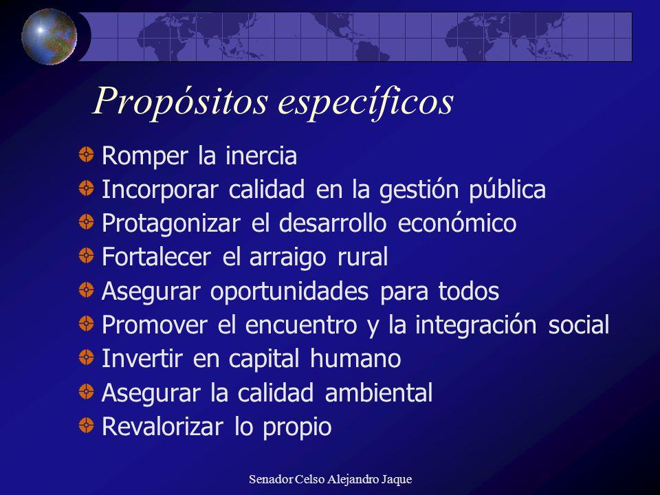 Senador Celso Alejandro Jaque Propósitos específicos Romper la inercia Incorporar calidad en la gestión pública Protagonizar el desarrollo económico F