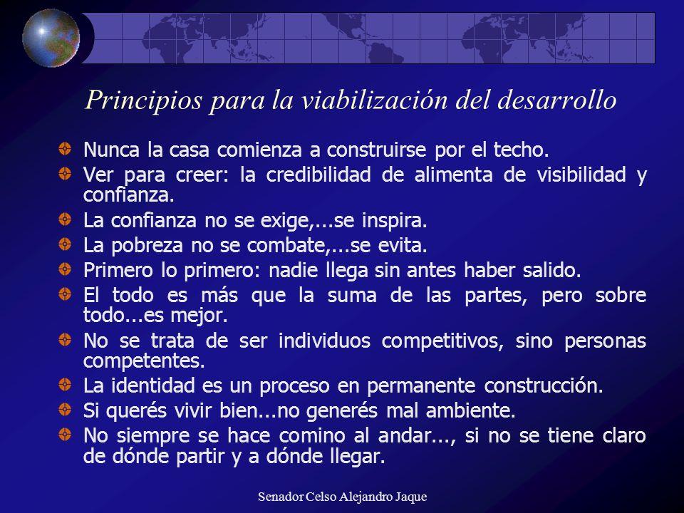 Senador Celso Alejandro Jaque Principios para la viabilización del desarrollo Nunca la casa comienza a construirse por el techo. Ver para creer: la cr