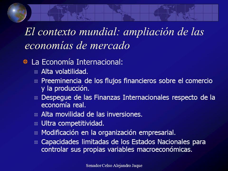 Senador Celso Alejandro Jaque El contexto mundial: ampliación de las economías de mercado La Economía Internacional: Alta volatilidad. Preeminencia de