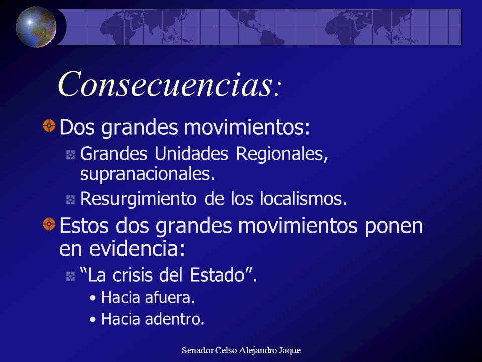 Senador Celso Alejandro Jaque Consecuencias : Dos grandes movimientos: Grandes Unidades Regionales, supranacionales. Resurgimiento de los localismos.