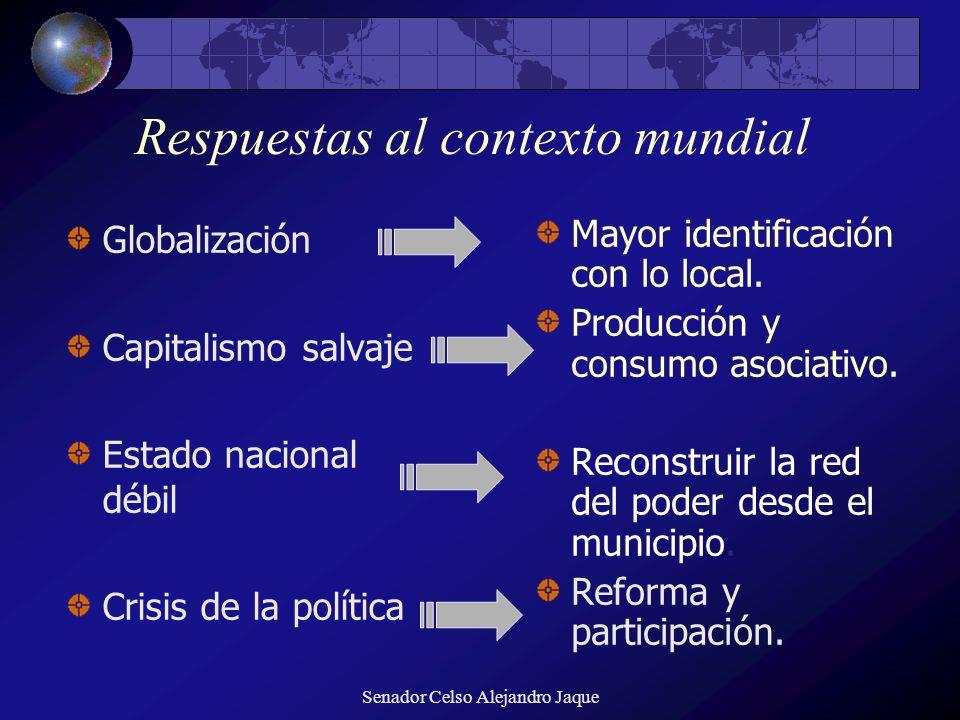 Senador Celso Alejandro Jaque Respuestas al contexto mundial Globalización Capitalismo salvaje Estado nacional débil Crisis de la política Mayor ident
