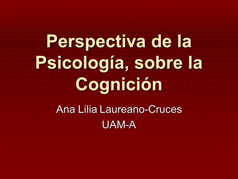 Perspectiva de la Psicología, sobre la Cognición Ana Lilia Laureano-Cruces UAM-A