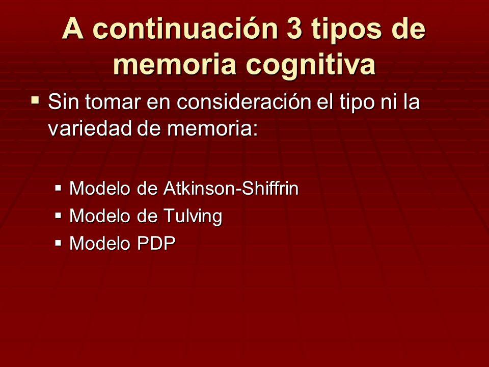 A continuación 3 tipos de memoria cognitiva Sin tomar en consideración el tipo ni la variedad de memoria: Sin tomar en consideración el tipo ni la var