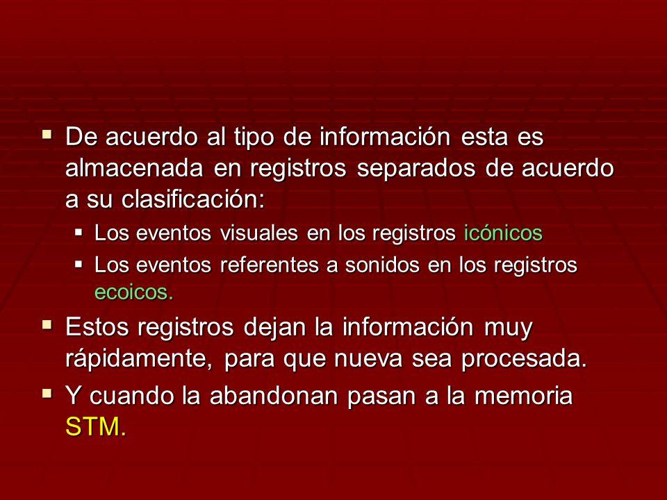 De acuerdo al tipo de información esta es almacenada en registros separados de acuerdo a su clasificación: De acuerdo al tipo de información esta es a