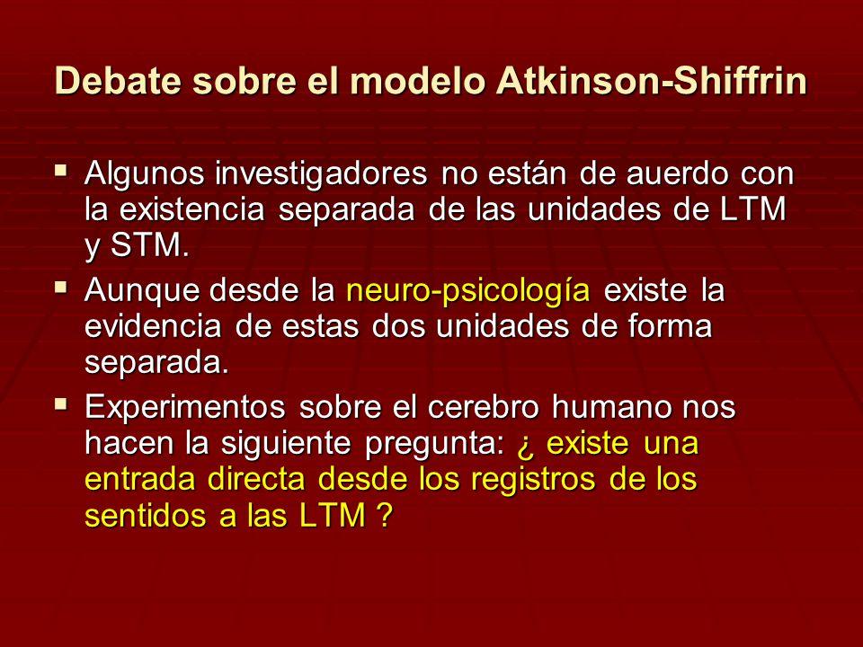 Debate sobre el modelo Atkinson-Shiffrin Algunos investigadores no están de auerdo con la existencia separada de las unidades de LTM y STM. Algunos in