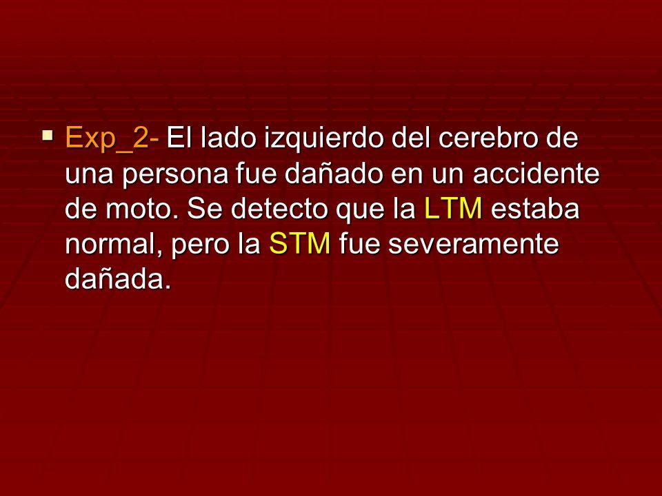 Exp_2- El lado izquierdo del cerebro de una persona fue dañado en un accidente de moto. Se detecto que la LTM estaba normal, pero la STM fue severamen