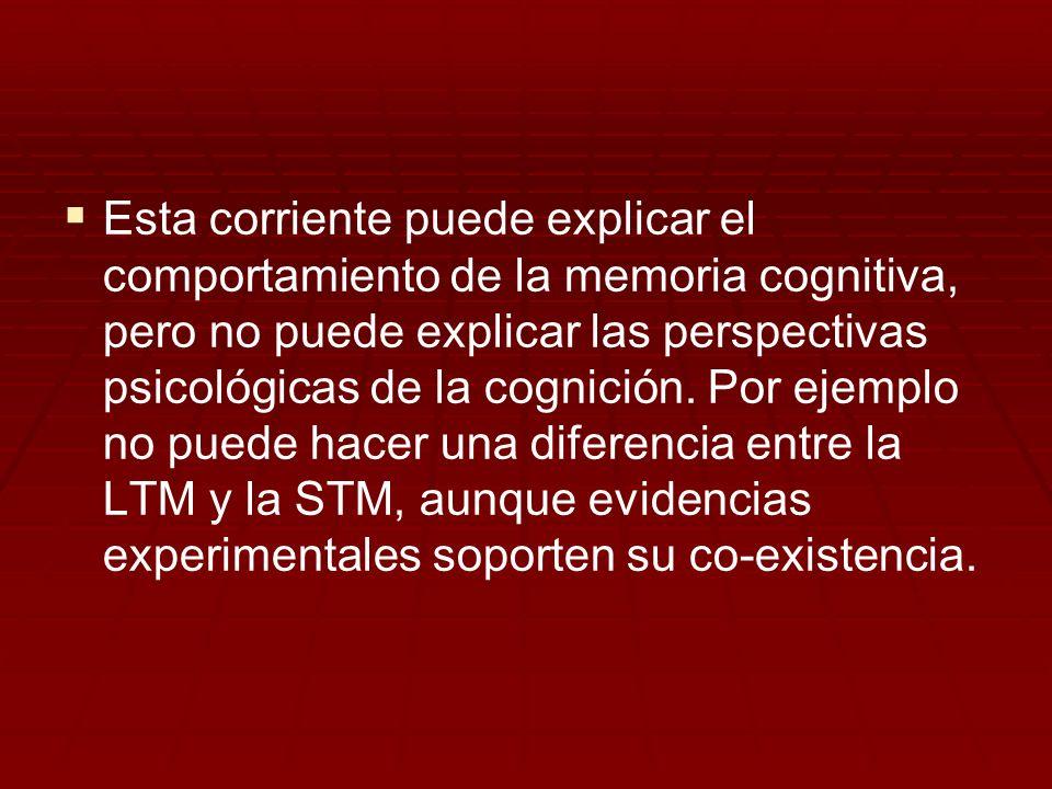 Esta corriente puede explicar el comportamiento de la memoria cognitiva, pero no puede explicar las perspectivas psicológicas de la cognición. Por eje