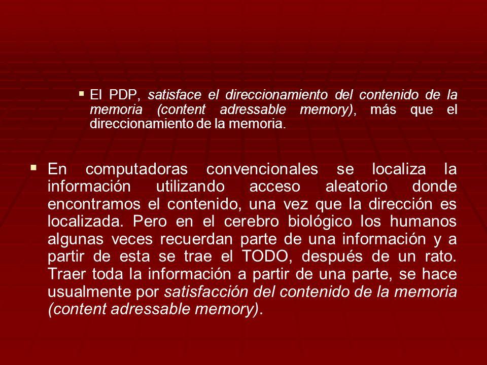 El PDP, satisface el direccionamiento del contenido de la memoria (content adressable memory), más que el direccionamiento de la memoria. En computado
