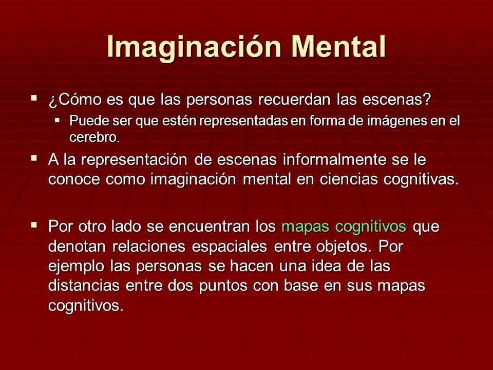 Imaginación Mental ¿Cómo es que las personas recuerdan las escenas? ¿Cómo es que las personas recuerdan las escenas? Puede ser que estén representadas