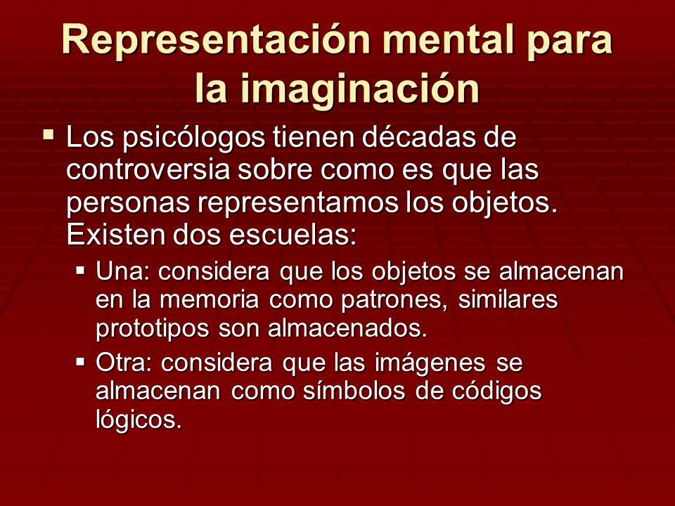 Representación mental para la imaginación Los psicólogos tienen décadas de controversia sobre como es que las personas representamos los objetos. Exis