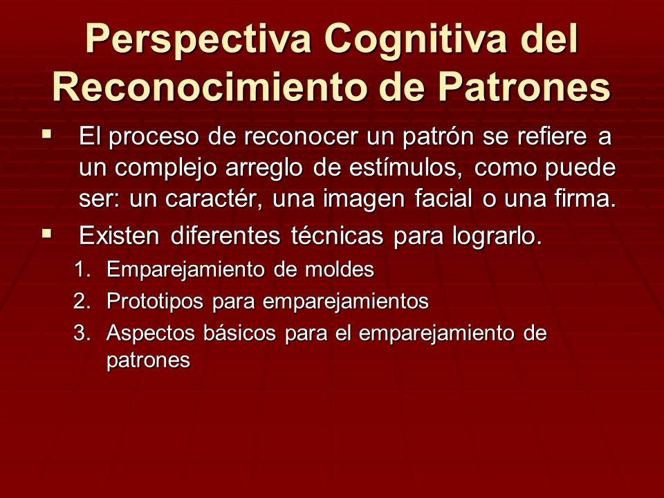 Perspectiva Cognitiva del Reconocimiento de Patrones El proceso de reconocer un patrón se refiere a un complejo arreglo de estímulos, como puede ser:
