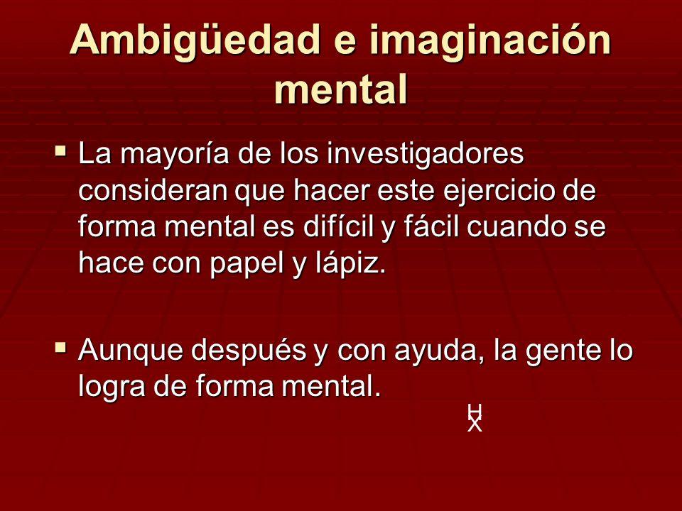Ambigüedad e imaginación mental La mayoría de los investigadores consideran que hacer este ejercicio de forma mental es difícil y fácil cuando se hace