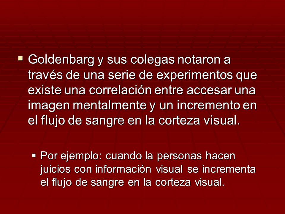 Goldenbarg y sus colegas notaron a través de una serie de experimentos que existe una correlación entre accesar una imagen mentalmente y un incremento