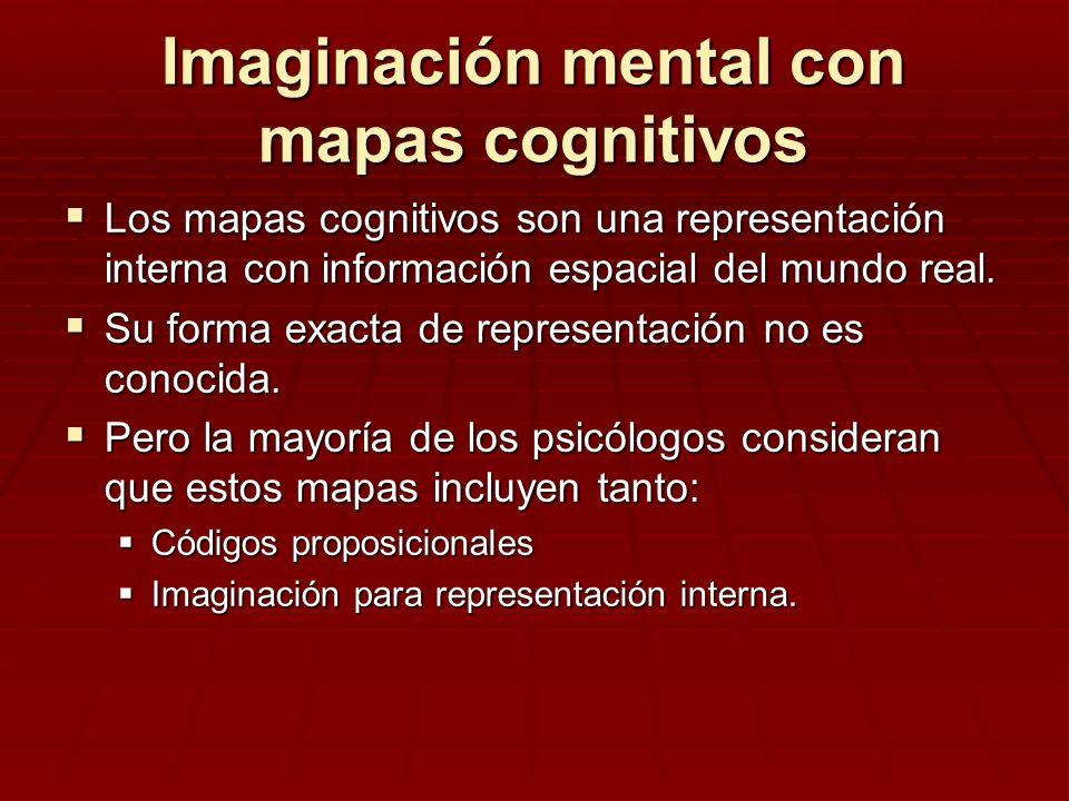 Imaginación mental con mapas cognitivos Los mapas cognitivos son una representación interna con información espacial del mundo real. Los mapas cogniti