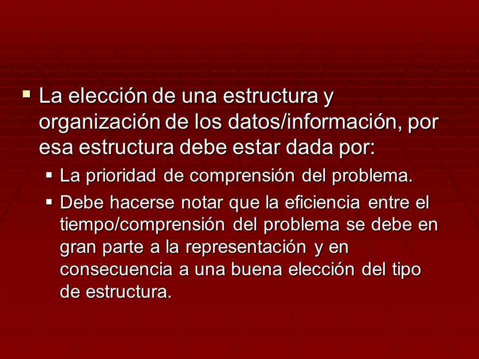La elección de una estructura y organización de los datos/información, por esa estructura debe estar dada por: La elección de una estructura y organiz