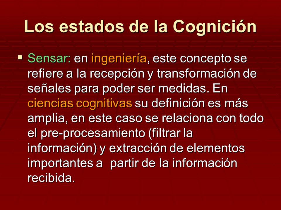 Los estados de la Cognición Sensar: en ingeniería, este concepto se refiere a la recepción y transformación de señales para poder ser medidas. En cien