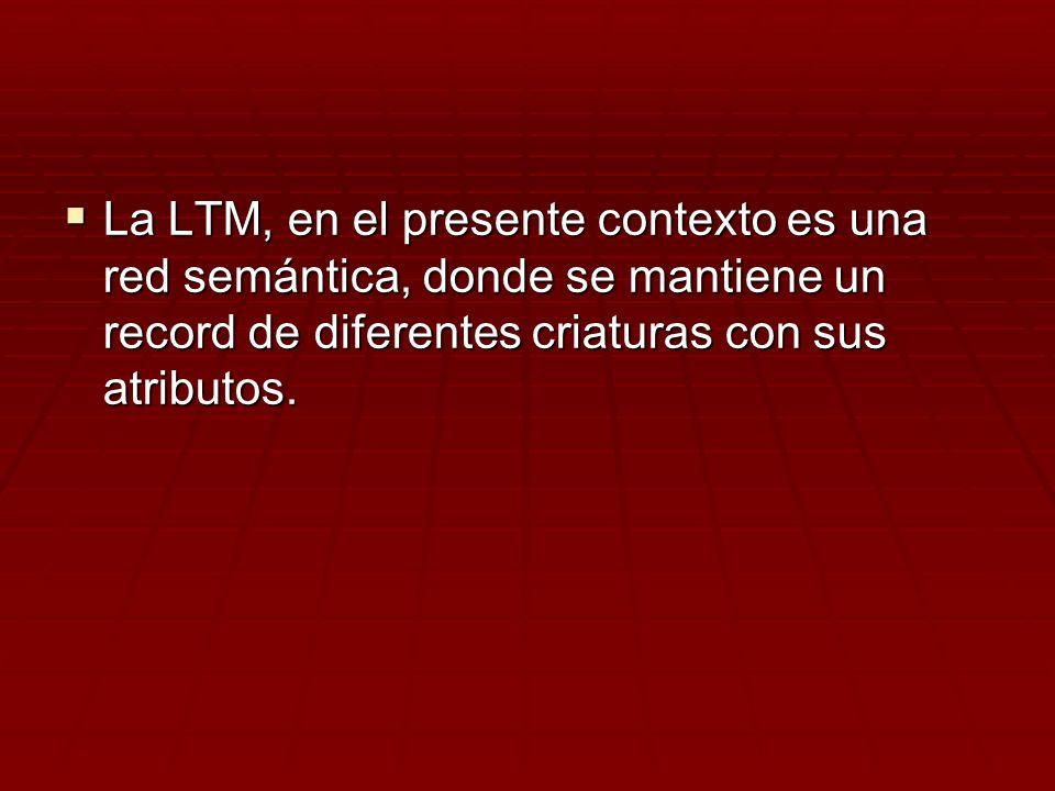 La LTM, en el presente contexto es una red semántica, donde se mantiene un record de diferentes criaturas con sus atributos. La LTM, en el presente co
