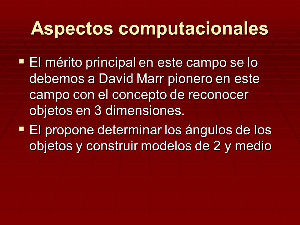 Aspectos computacionales El mérito principal en este campo se lo debemos a David Marr pionero en este campo con el concepto de reconocer objetos en 3
