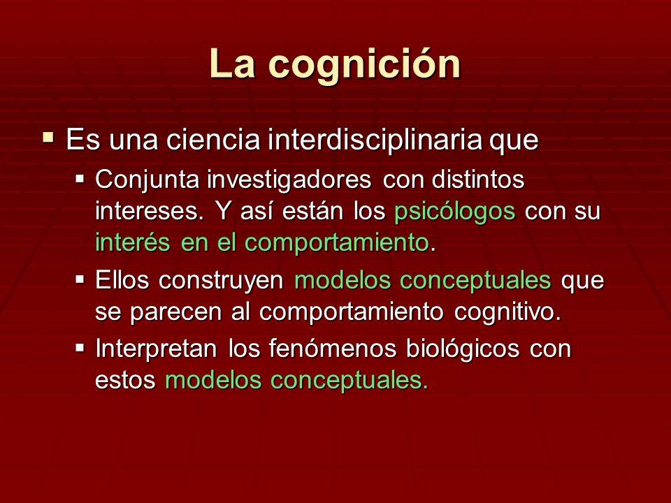 La cognición Es una ciencia interdisciplinaria que Es una ciencia interdisciplinaria que Conjunta investigadores con distintos intereses. Y así están