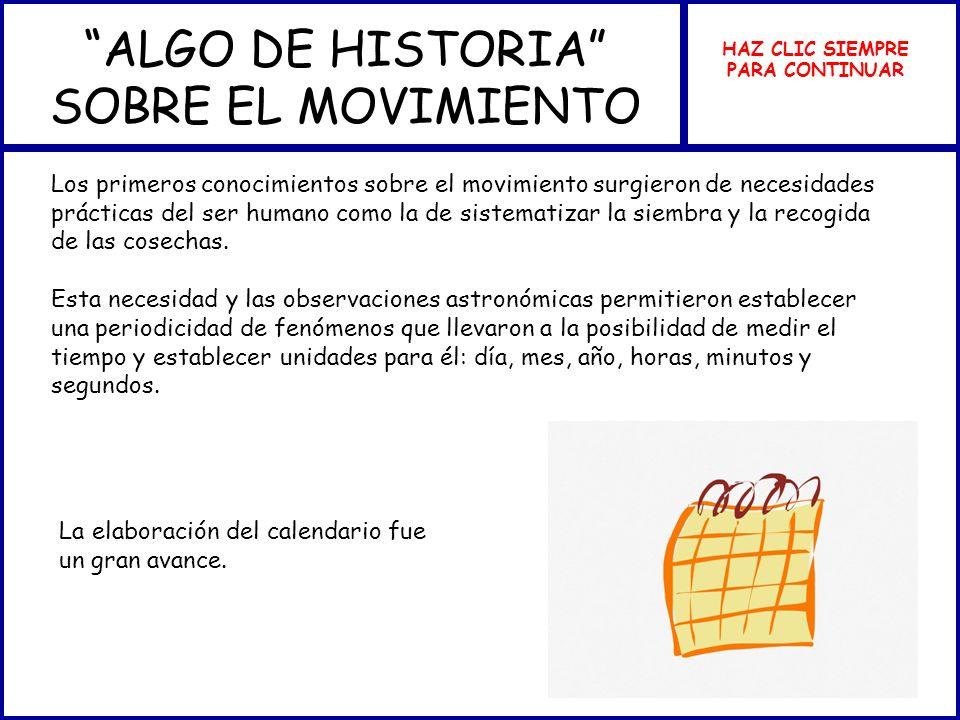 ALGO DE HISTORIA SOBRE EL MOVIMIENTO HAZ CLIC SIEMPRE PARA CONTINUAR Los primeros conocimientos sobre el movimiento surgieron de necesidades prácticas