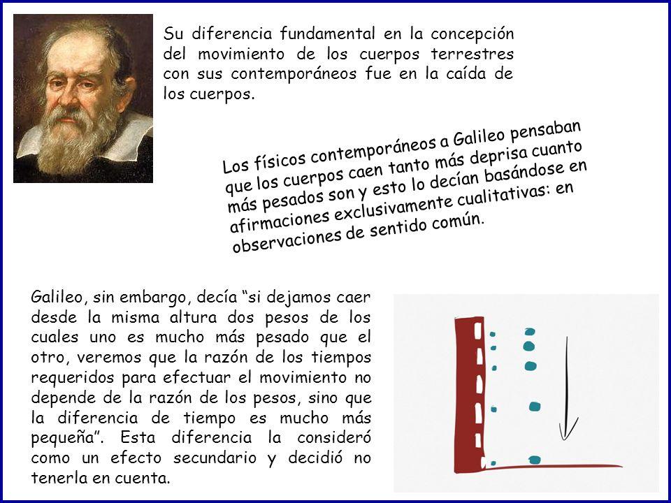 Su diferencia fundamental en la concepción del movimiento de los cuerpos terrestres con sus contemporáneos fue en la caída de los cuerpos. Los físicos