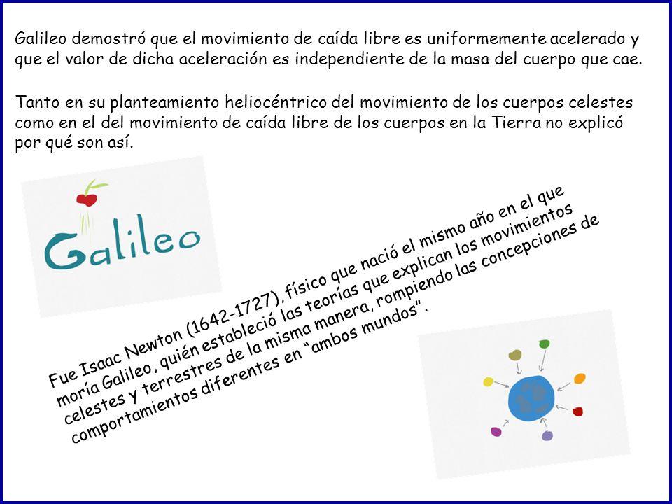 Galileo demostró que el movimiento de caída libre es uniformemente acelerado y que el valor de dicha aceleración es independiente de la masa del cuerp