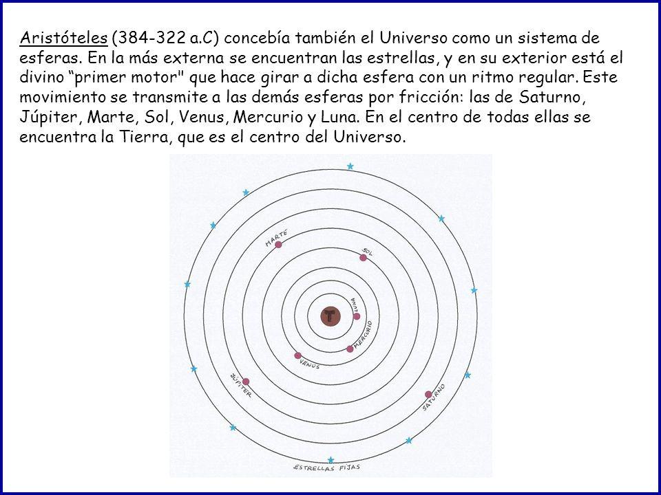 Aristóteles (384-322 a.C) concebía también el Universo como un sistema de esferas. En la más externa se encuentran las estrellas, y en su exterior est